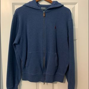 Polo Hooded Full zip ribbed cotton hoodie